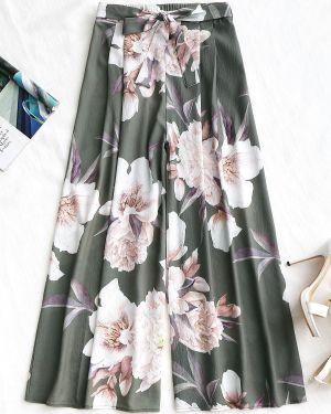 Свободные брюки в цветочный принт с поясом Zaful