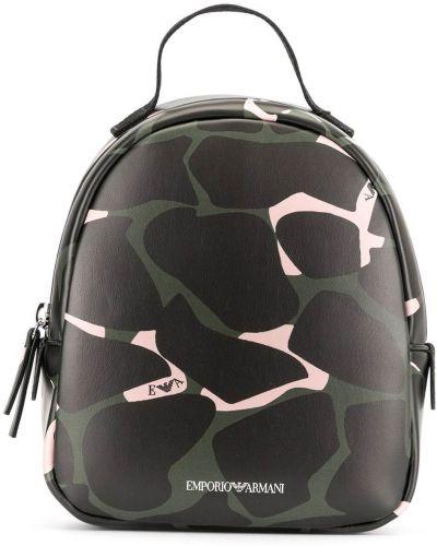 Czarny sport plecak skórzany z printem Emporio Armani Kids