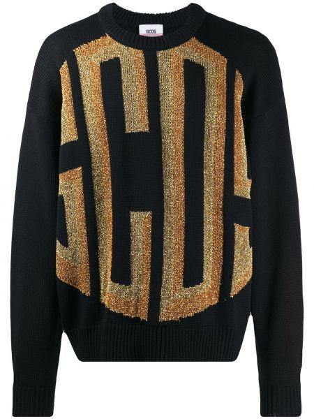 Czarny sweter wełniany z długimi rękawami Gcds