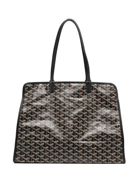 Czarna torebka skórzana z printem Goyard
