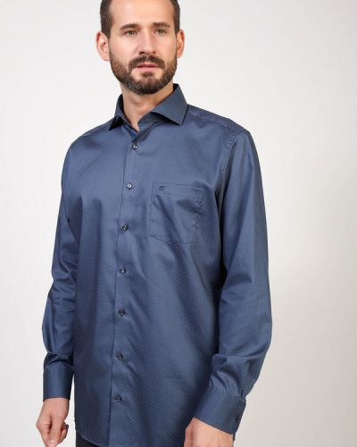 Хлопковая рубашка с длинными рукавами с воротником Casa Moda