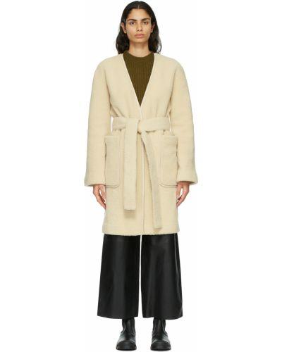 Белое пальто длинное Loewe