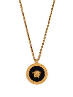 Czarny wisiorka ze złota metal Versace