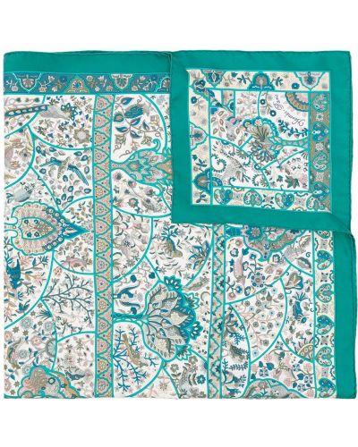 Зеленый шелковый платок винтажный Hermès