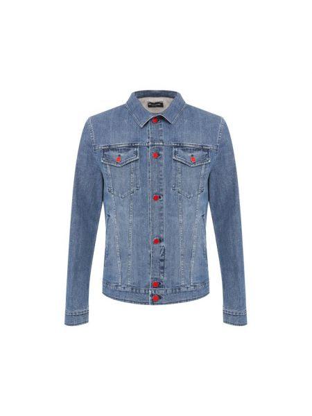 Прямая синяя джинсовая куртка на пуговицах прозрачная Kiton