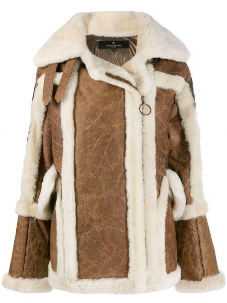 Коричневое шерстяное длинное пальто на молнии Nicole Benisti