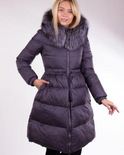 Пальто с мехом - серое Clasna