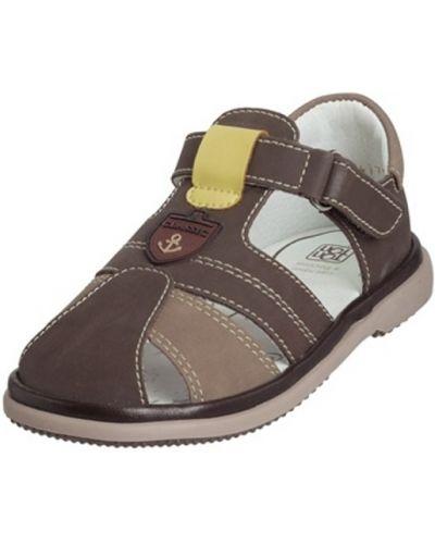 Брендовые коричневые кожаные сандалии топ-топ