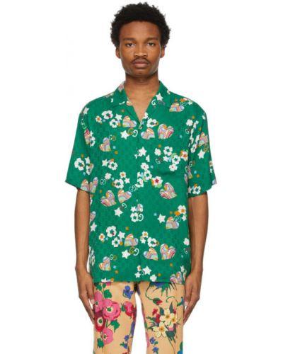 Zielona koszula krótki rękaw z jedwabiu Gucci