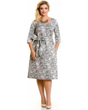 Платье с поясом с V-образным вырезом на торжество Novita