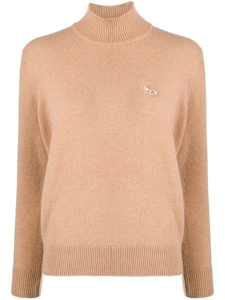 Коричневый вязаный свитер с воротником в рубчик Maison Kitsuné