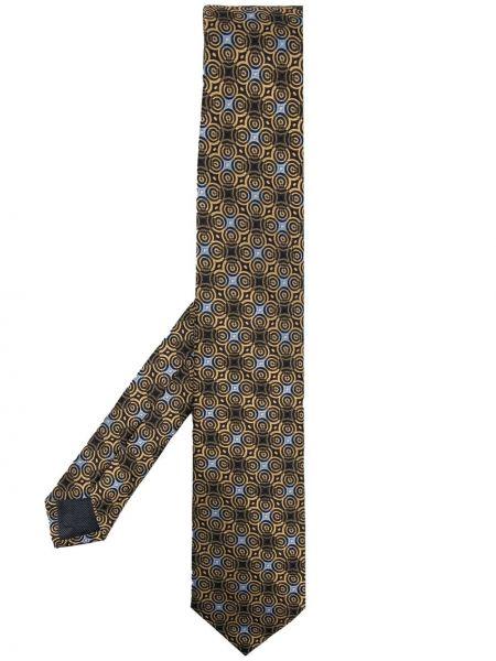 Złoty czarny krawat z haftem Ermenegildo Zegna