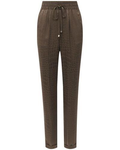 Коричневые шелковые брюки свободного кроя с поясом Kiton