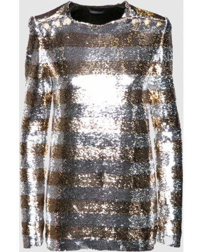Серебряная блузка с пайетками Balmain