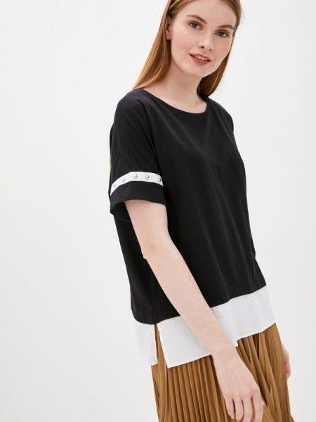 Черная блузка с коротким рукавом снежная королева