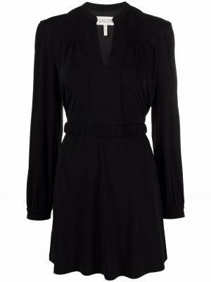 Czarna sukienka długa z długimi rękawami Saloni