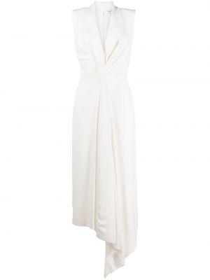 Шелковое белое вечернее платье без рукавов Alexander Mcqueen