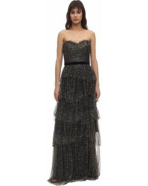 Платье из фатина на бретелях Marchesa Notte