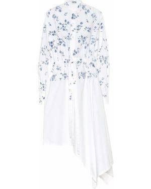 Платье с цветочным принтом из поплина Loewe