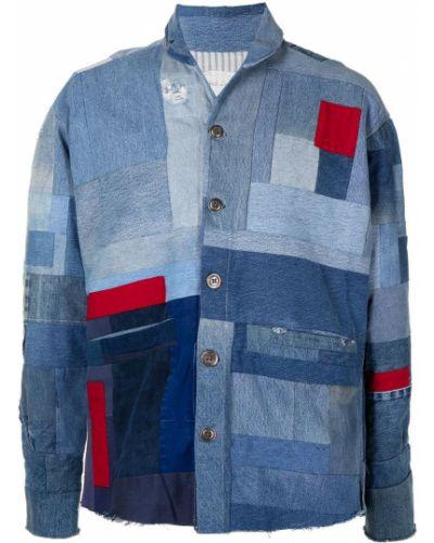 Niebieskie jeansy zapinane na guziki bawełniane Greg Lauren