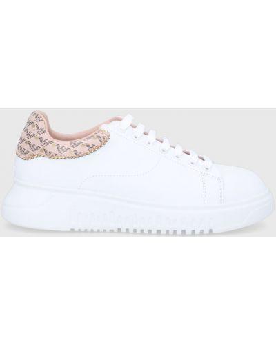 Białe sneakersy na platformie skorzane Emporio Armani