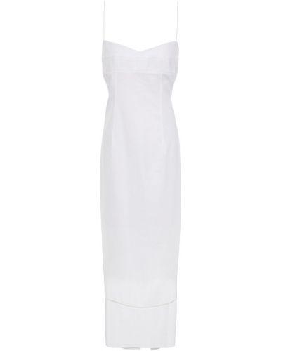 Хлопковое белое платье миди на крючках Khaite