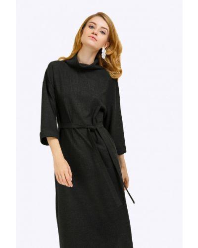 Платье миди серое с поясом Emka