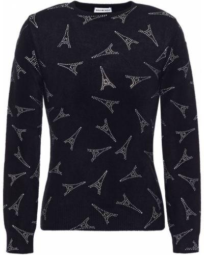 Prążkowany czarny sweter z wiskozy Balenciaga