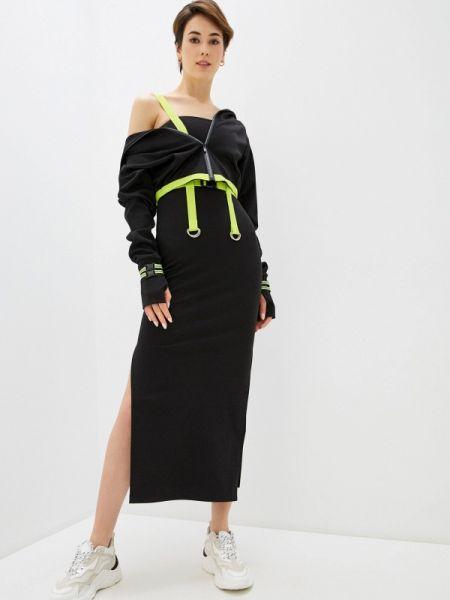 Черный костюмный вязаный юбочный костюм Malaeva