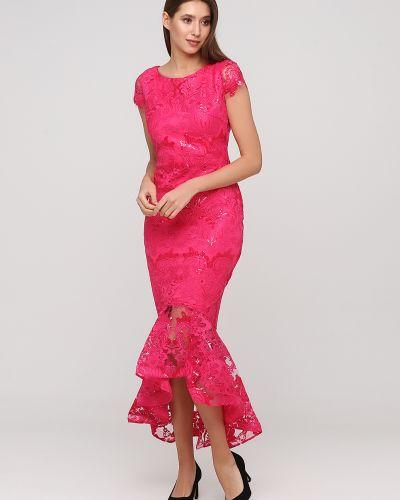 Розовое кружевное коктейльное платье Goddiva