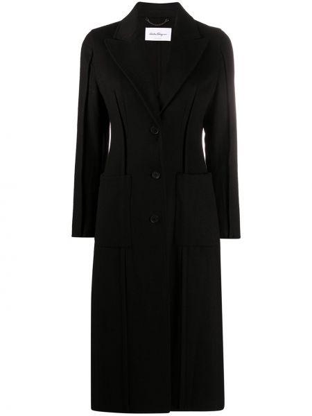 Черное кашемировое длинное пальто с карманами Salvatore Ferragamo