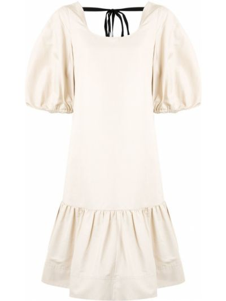 Расклешенное шелковое с заниженной талией платье мини с вырезом Lee Mathews