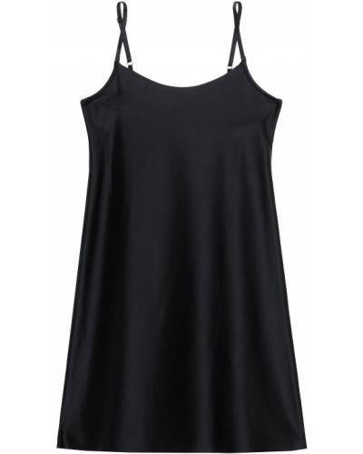 Czarna satynowa koszula nocna Commando