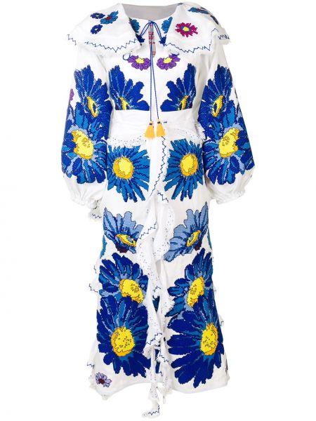 Расклешенное платье с вышивкой с воротником на молнии Yuliya Magdych