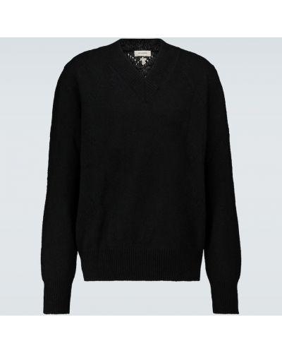 Czarny sweter wełniany z dekoltem w serek Rochas