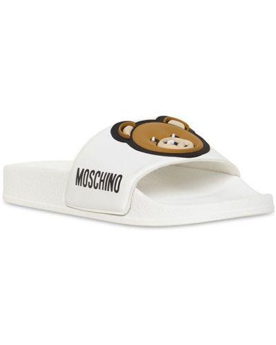 Белые шлепанцы с нашивками с медведем Moschino