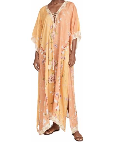 Желтое кружевное платье с декольте Agua Bendita