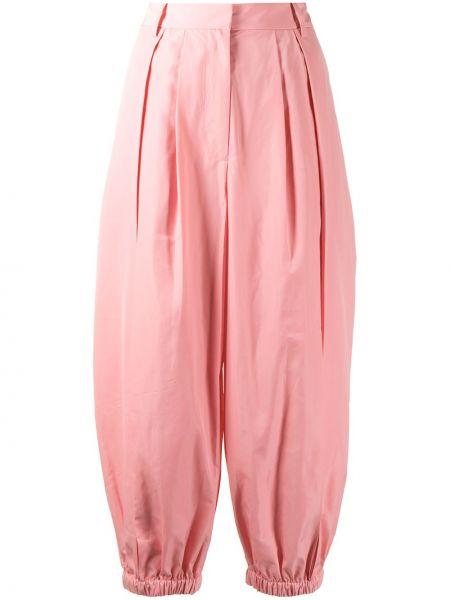 Różowy spodni przycięte spodnie z kieszeniami Tibi