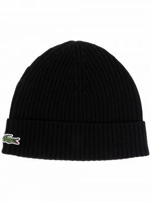 Шерстяная шапка бини - черная Lacoste