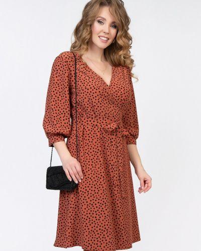 Коричневое приталенное платье с рукавами с запахом с V-образным вырезом Diolche