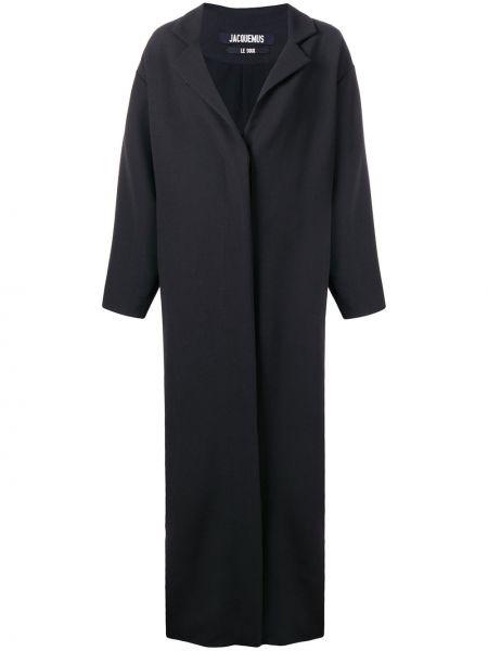 Czarny długi płaszcz wełniany z długimi rękawami Jacquemus