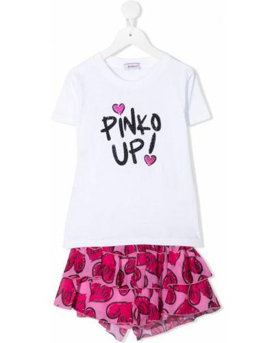 Хлопковый белый топ с вырезом Pinko Kids