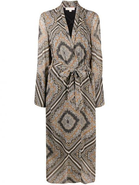 Прямое длинное пальто с поясом с V-образным вырезом Michael Michael Kors