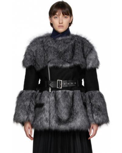 Черная кожаная длинная куртка для полных Sacai