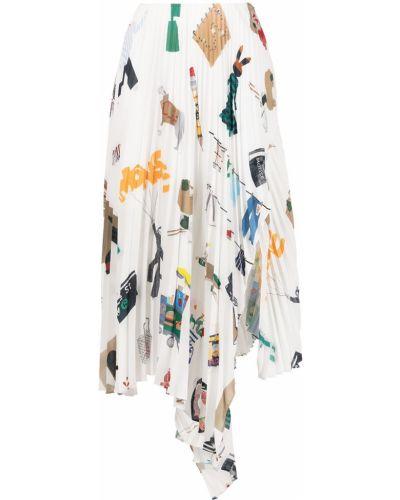 Biała spódnica plisowana z printem Monse