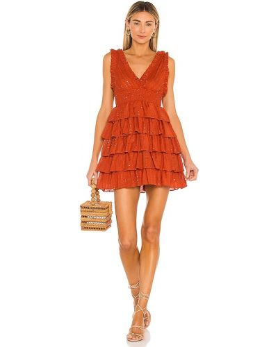 Плиссированное оранжевое платье из вискозы Sundress