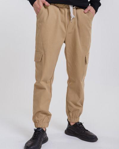 Брюки карго с накладными карманами - бежевые Arjen
