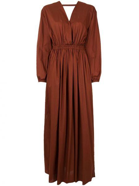 Открытое коричневое платье макси с открытой спиной эластичное Matteau