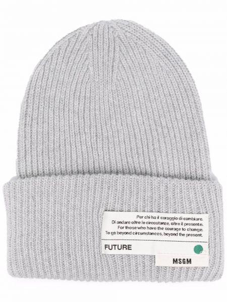 Шерстяная шапка бини - серая Msgm