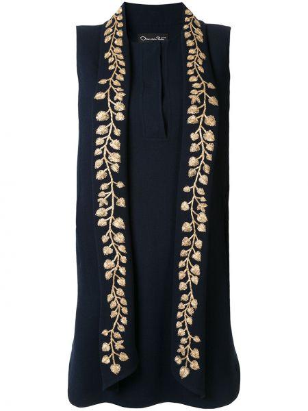 Свободное синее платье мини свободного кроя Oscar De La Renta